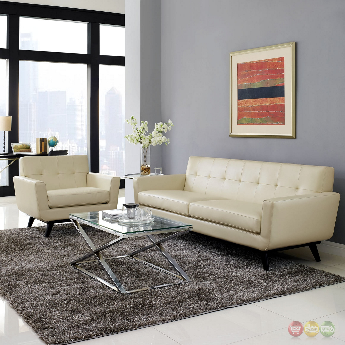 Living Room Sets: Engage Contemporary 2pc Button-tufted Leather Living Room
