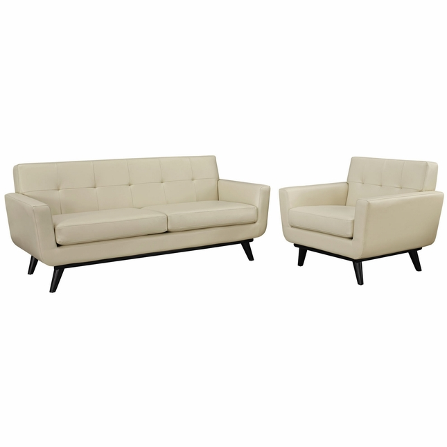 Engage Contemporary 2pc Button-tufted Leather Living Room Set, Beige