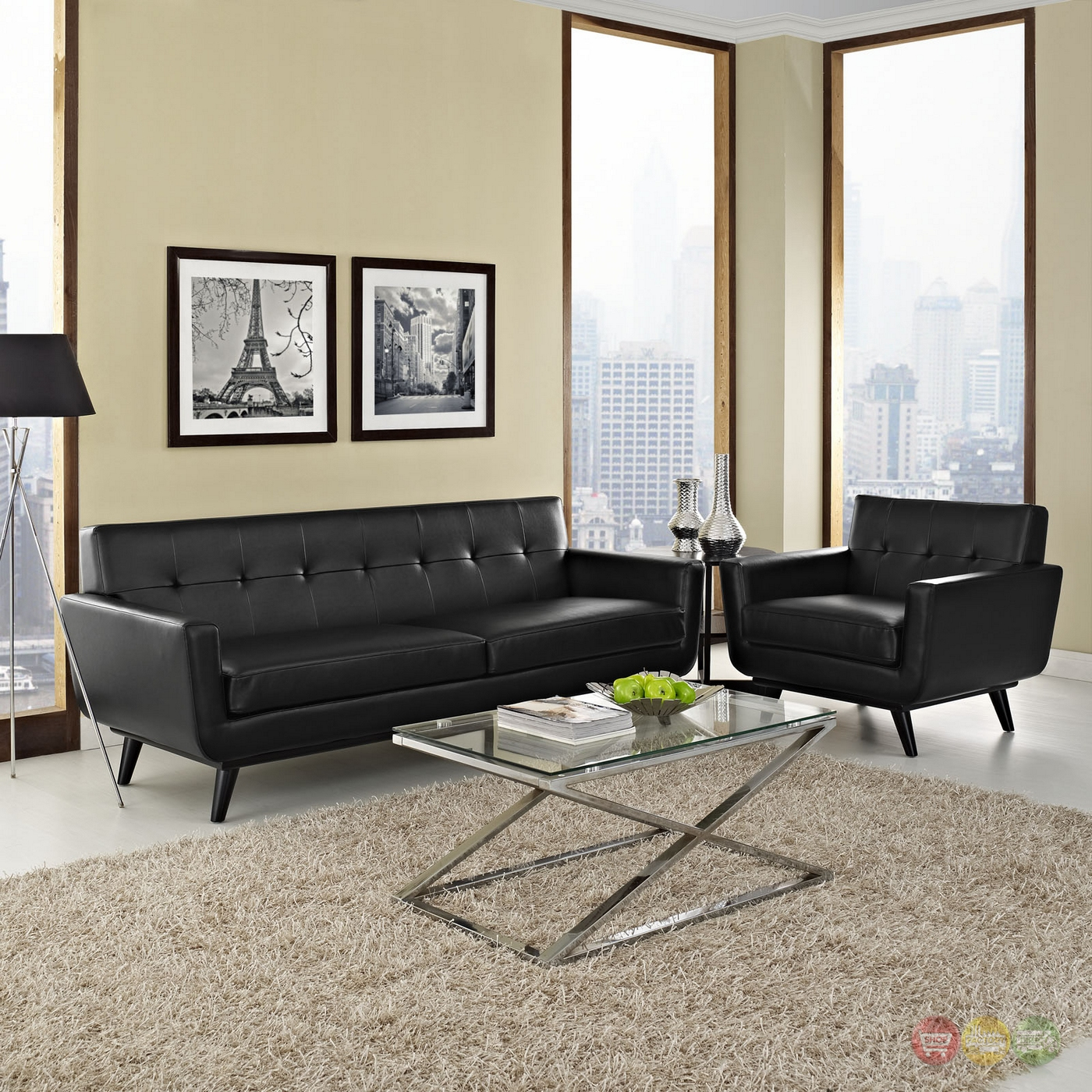 Mid Century Modern Living Room Furniture: Engage Contemporary 2pc Button-tufted Leather Living Room