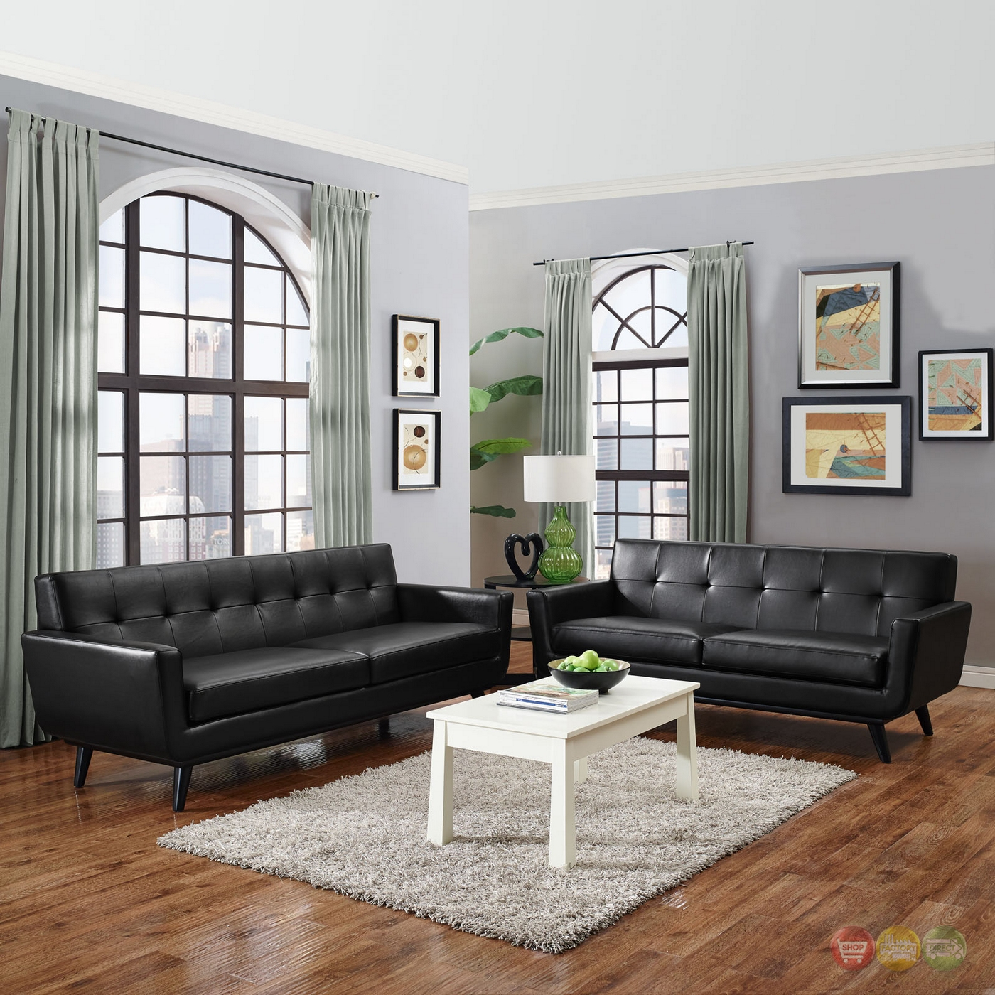 Engage contemporary 2pc button tufted leather living room set black