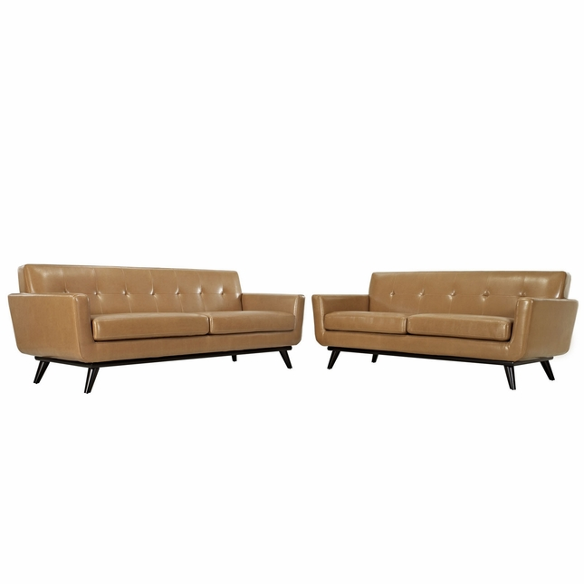 Engage Contemporary 2pc Button-tufted Leather Living Room Set, Tan