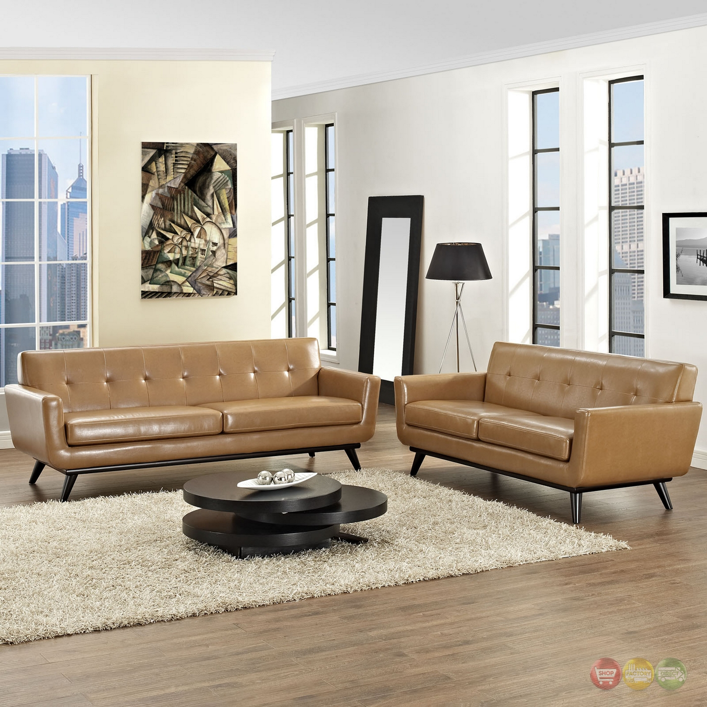 Century modern engage 2pc button tufted leather living room set tan