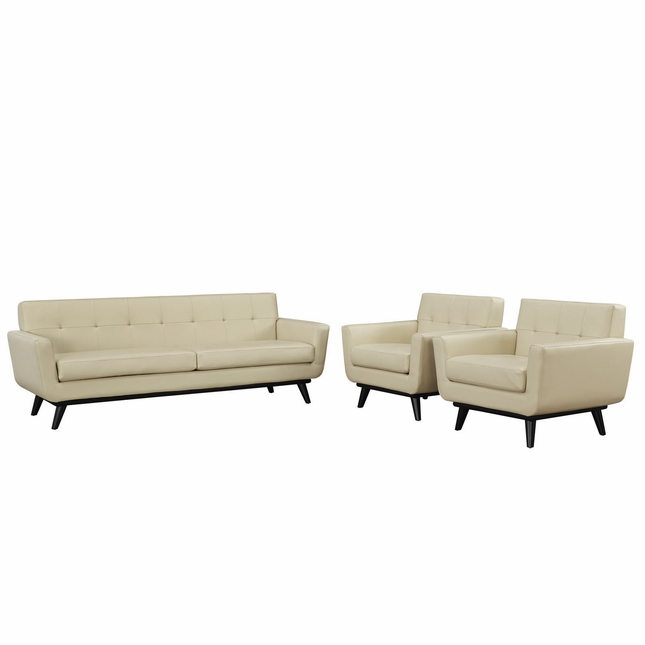 Engage Contemporary 3pc Button-tufted Leather Living Room Set, Beige