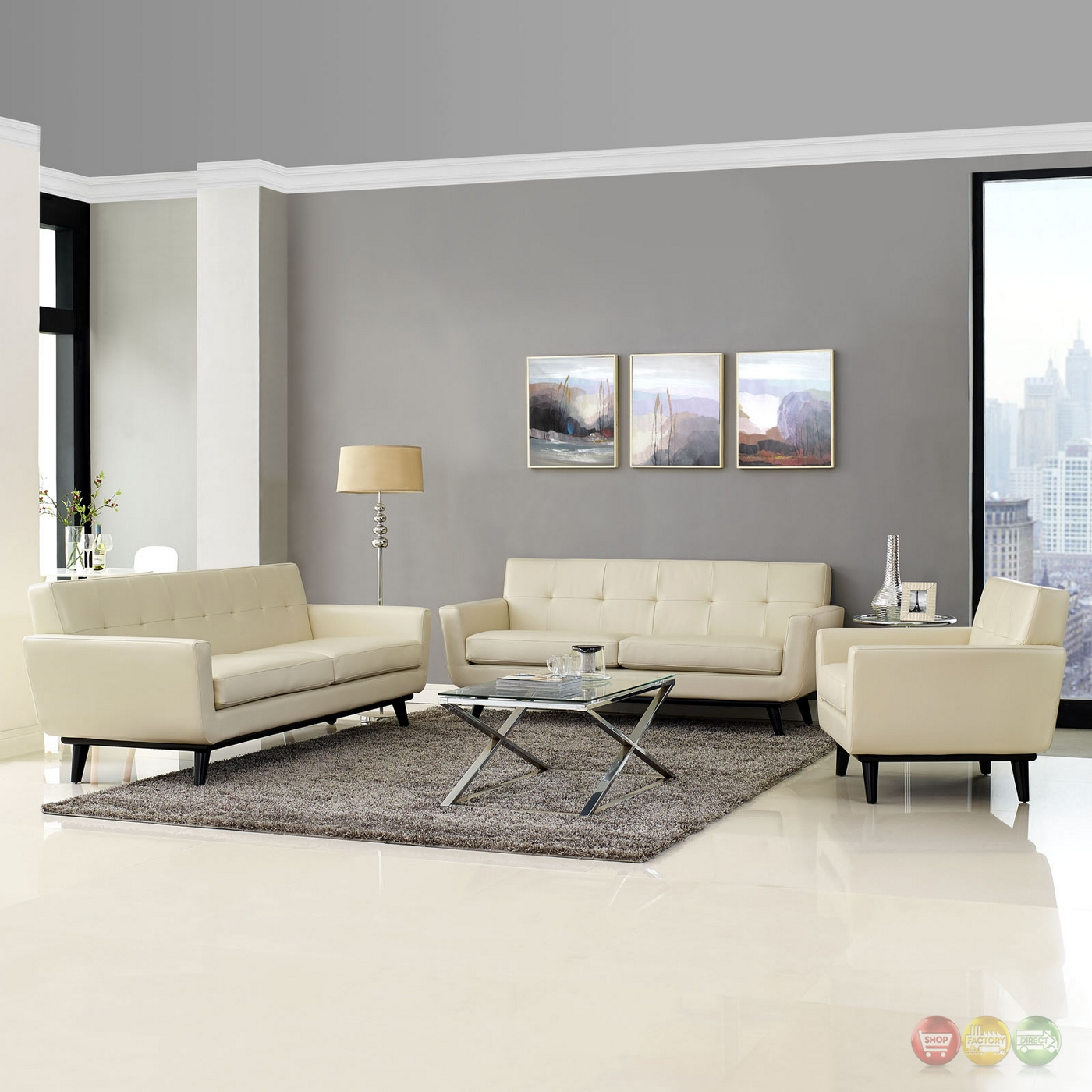 Century modern engage 3pc button tufted leather living room set beige