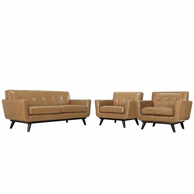 Engage Contemporary 3pc Button-tufted Leather Living Room Set, Tan