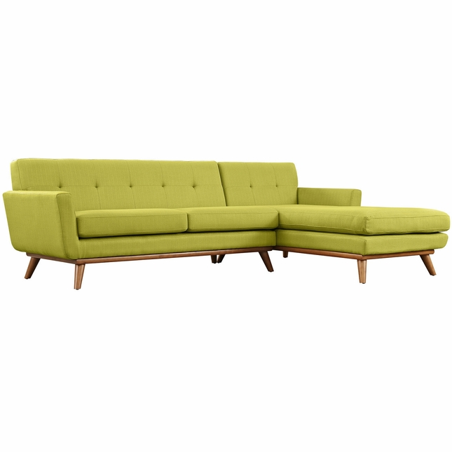 Engage Contemporary Right-facing Chaise Sectional Sofa w/ Wood Frame, Wheat