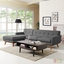 Engage Left-facing Button-tufted Sectional Sofa With Wood Frame, Gray