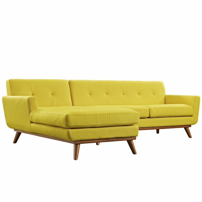 Engage Left-facing Button-tufted Sectional Sofa With Wood Frame, Sunny
