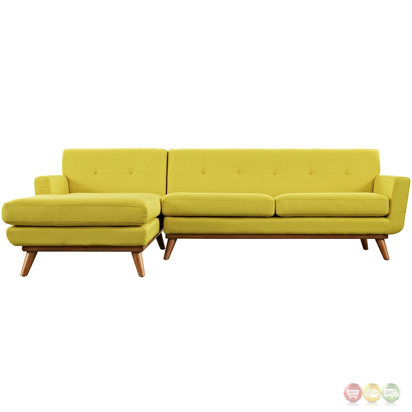 Engage Left Facing Button Tufted Sectional Sofa With Wood Frame Sunny. Full resolution  pic, nominally Width 1400 Height 1400 pixels, pic with #3E2609.
