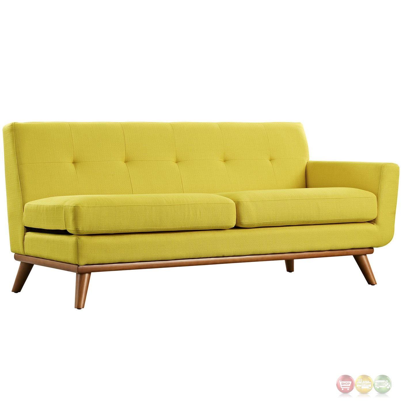 Wood Frame Sofa : Engage Left-facing Button-tufted Sectional Sofa With Wood Frame, Sunny