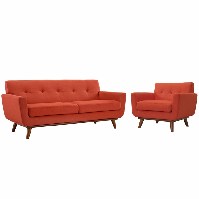 Engage Modern 2pc Upholstered Button-tufted Loveseat And Armchair Set, Atomic Red