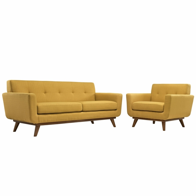 Engage Modern 2pc Upholstered Button-tufted Loveseat And Armchair Set, Citrus