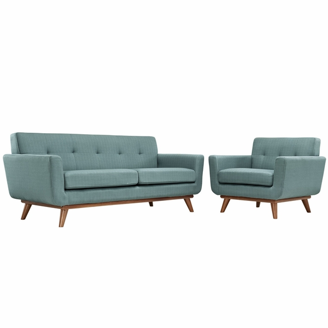 Engage Modern 2pc Upholstered Button-tufted Loveseat And Armchair Set, Laguna
