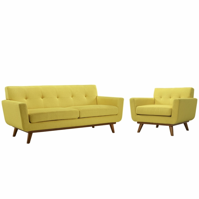 Engage Modern 2pc Upholstered Button-tufted Loveseat And Armchair Set, Sunny