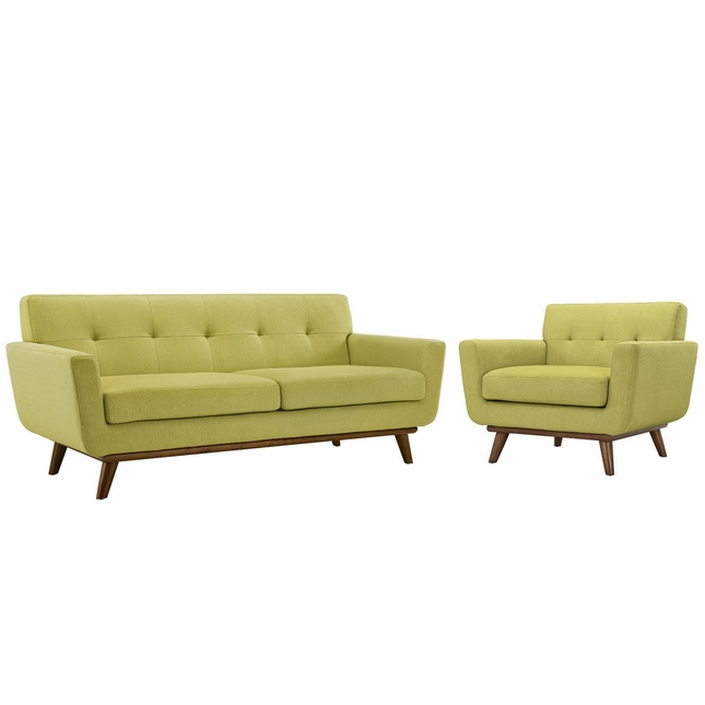 Engage Modern 2pc Upholstered Button-tufted Loveseat And Armchair Set, Wheat