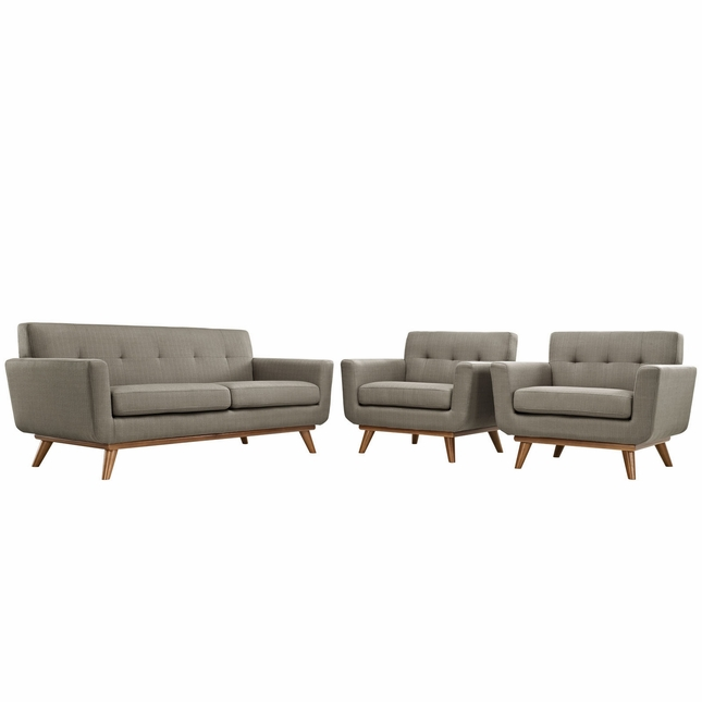 Engage Modern 2pc Upholstered Button-tufted Loveseat And Armchairs, Granite