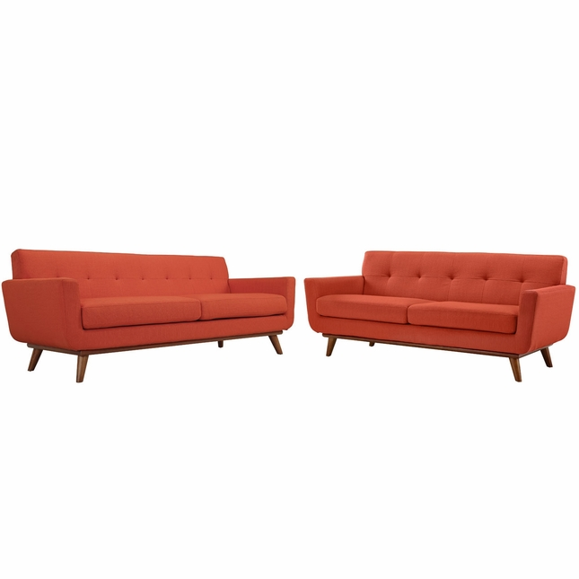 Engage Modern 2pc Upholstered Button-tufted Loveseat And Sofa, Atomic Red
