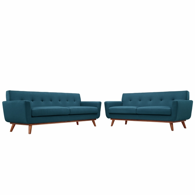Engage Modern 2pc Upholstered Button-tufted Loveseat And Sofa, Azure
