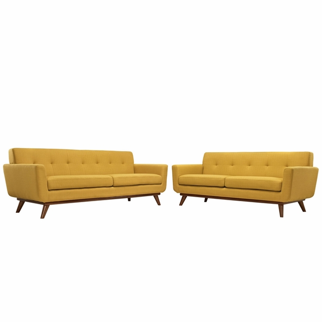 Mid-Century Modern Engage 2pc Button-Tufted Loveseat And Sofa, Citrus