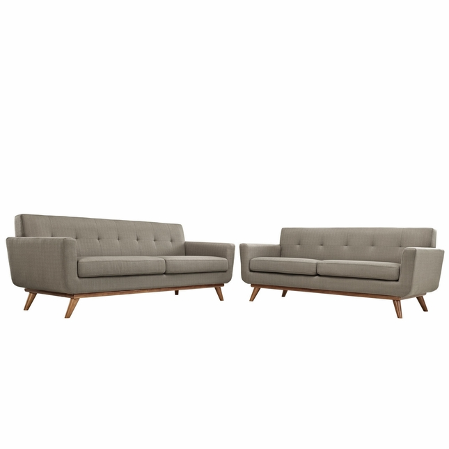 Mid-Century Modern Engage 2pc Button-Tufted Loveseat And Sofa, Granite