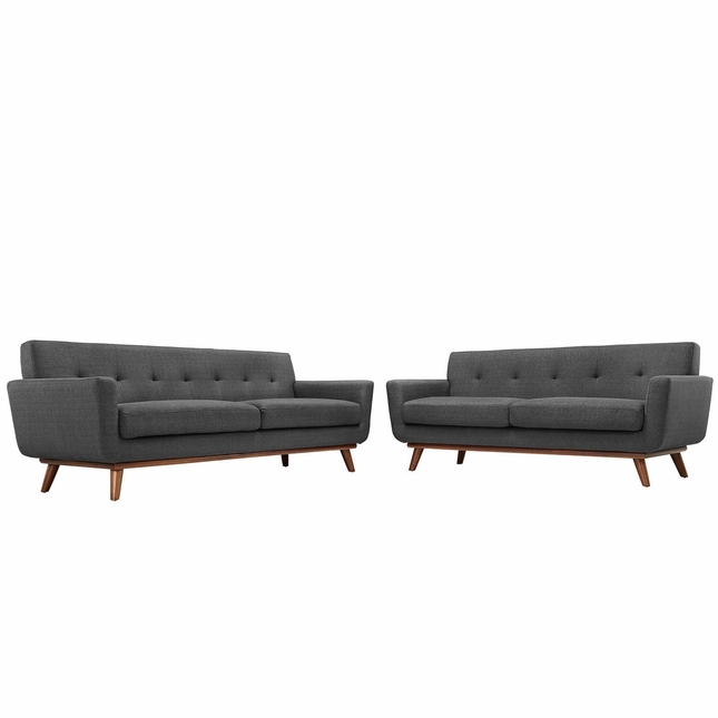 Engage Modern 2pc Upholstered Button-tufted Loveseat And Sofa, Gray