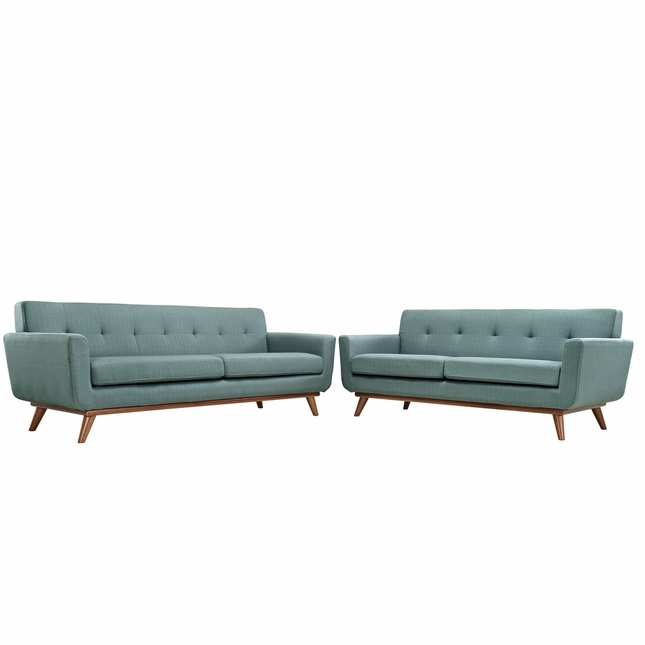 Mid-Century Modern Engage 2pc Button-Tufted Loveseat And Sofa, Laguna