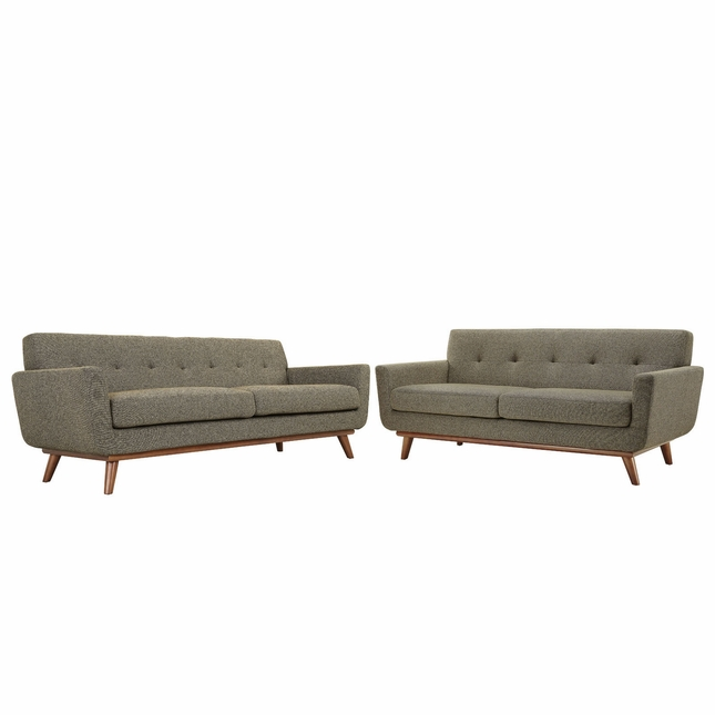 Mid-Century Modern Engage 2pc Button-Tufted Loveseat And Sofa, Oat