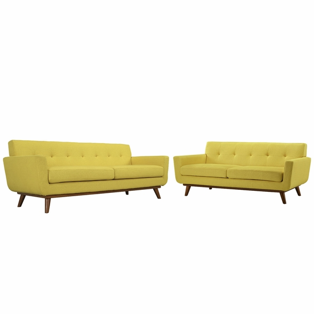 Mid-Century Modern Engage 2pc Button-Tufted Loveseat And Sofa, Sunny