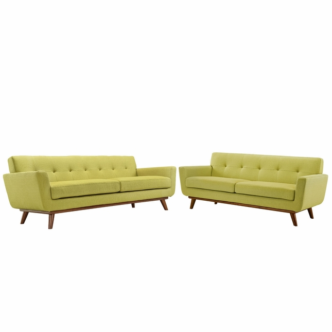 Engage Modern 2pc Upholstered Button-tufted Loveseat And Sofa, Wheat