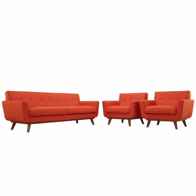 Mid-Century Modern Engage 2pc Button-Tufted Sofa Armchair Set, Atomic Red