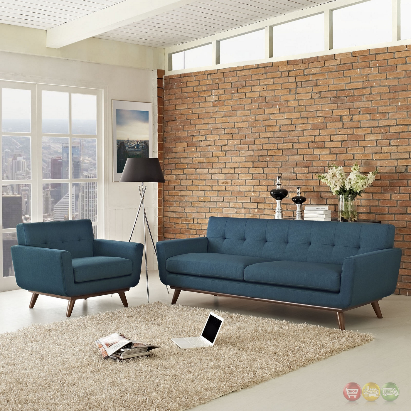 Engage Modern 2pc Upholstered Button-tufted Sofa ...