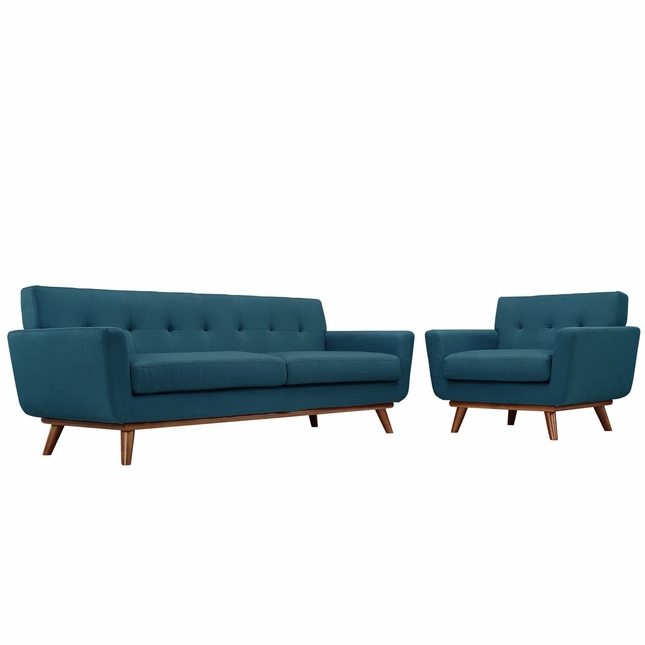 Engage Modern 2pc Upholstered Button-tufted Sofa & Armchair Set, Azure