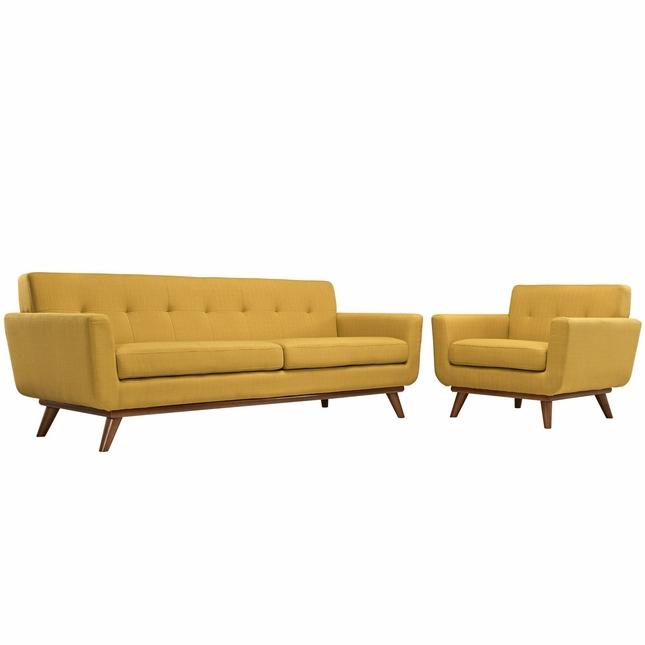 Mid-Century Modern Engage 2pc Button-Tufted Sofa & Armchair Set, Citrus