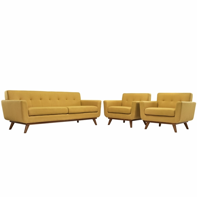 Mid-Century Modern Engage 2pc Button-Tufted Sofa Armchair Set, Citrus