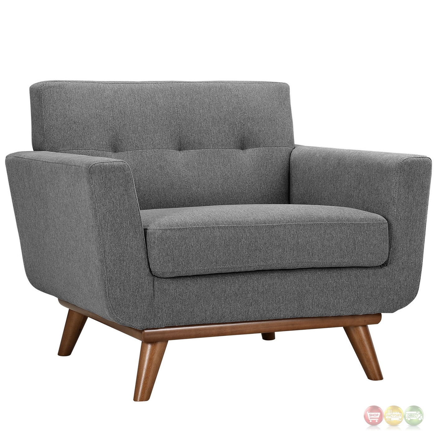 Engage Modern 2pc Upholstered Button Tufted Sofa