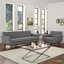 Engage Modern 2pc Upholstered Button-tufted Sofa & Armchair Set, Gray