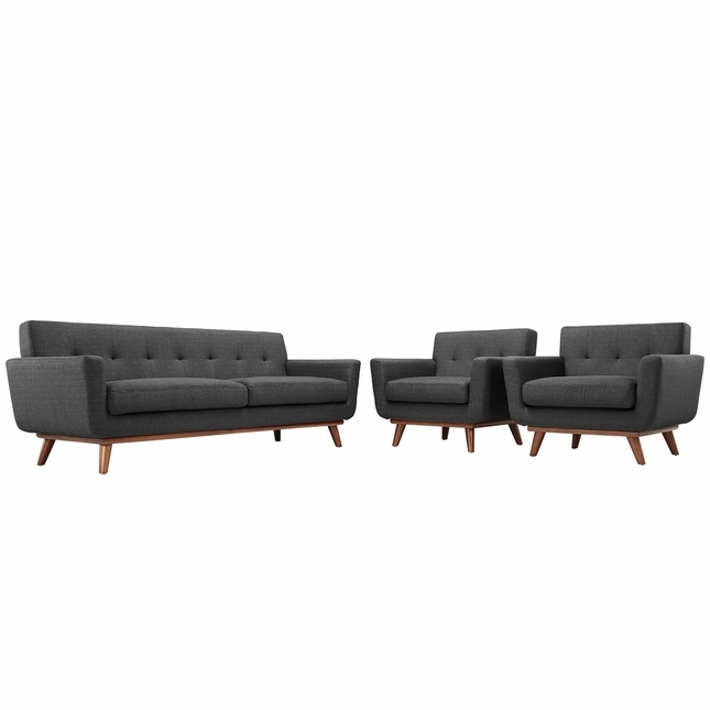 Engage Modern 2pc Upholstered Button-tufted Sofa Armchair Set, Gray