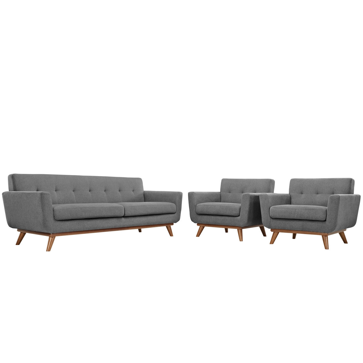 Engage Modern 2pc Upholstered Button Tufted Sofa Armchair
