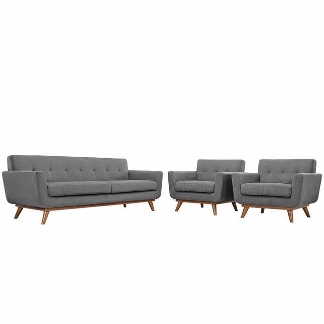 Mid-Century Modern Engage 2pc Button-Tufted Sofa Armchair Set, Gray