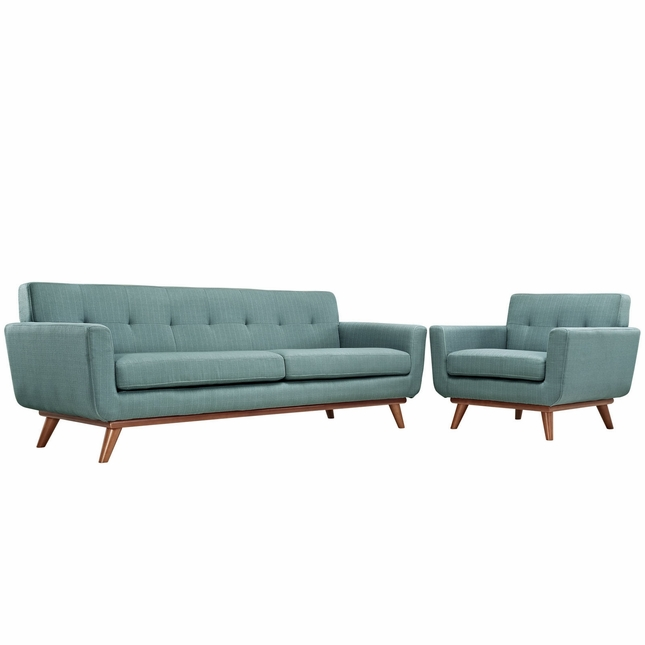 Engage Modern 2pc Upholstered Button-tufted Sofa & Armchair Set, Laguna