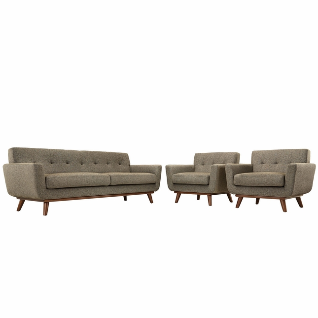 Engage Modern 2pc Upholstered Button-tufted Sofa Armchair Set, Oatmeal