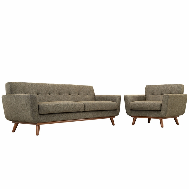 Engage Modern 2pc Upholstered Button-tufted Sofa & Armchair Set, Oatmeal