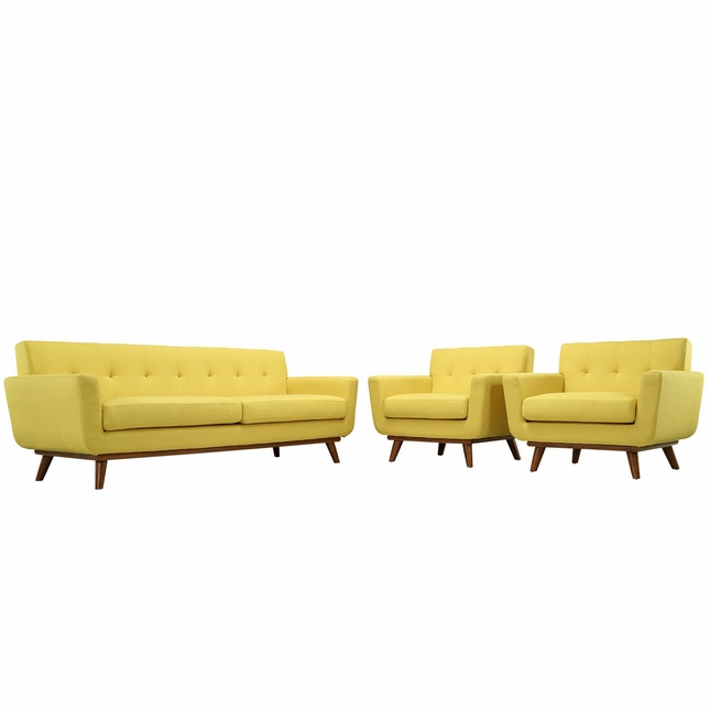 Engage Modern 2pc Upholstered Button-tufted Sofa Armchair Set, Sunny