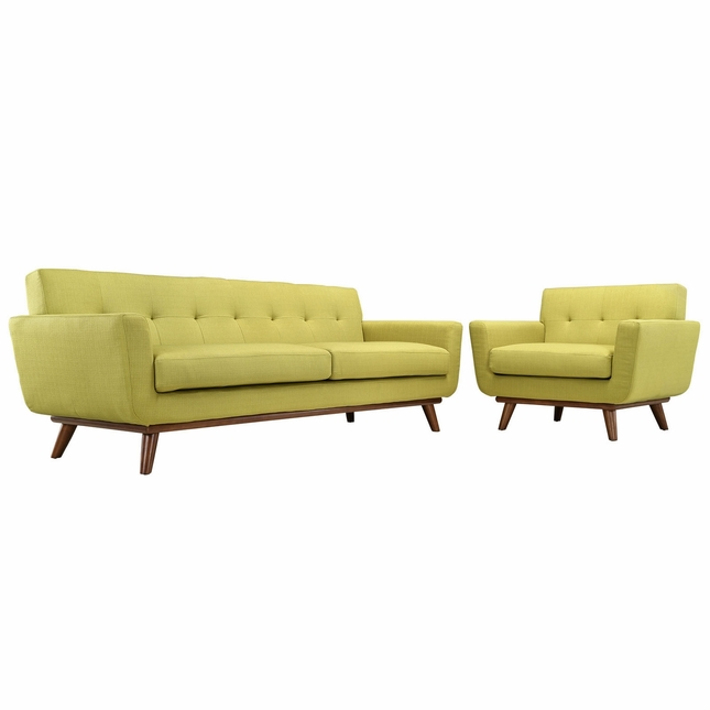Engage Modern 2pc Upholstered Button-tufted Sofa & Armchair Set, Wheatgrass