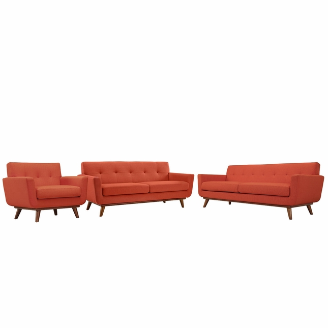 Engage Modern 3pc Upholstered Button-tufted Sofa Loveseat & Armchair, Atomic Red