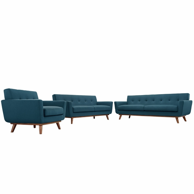 Engage Modern 3pc Upholstered Button-tufted Sofa Loveseat & Armchair, Azure