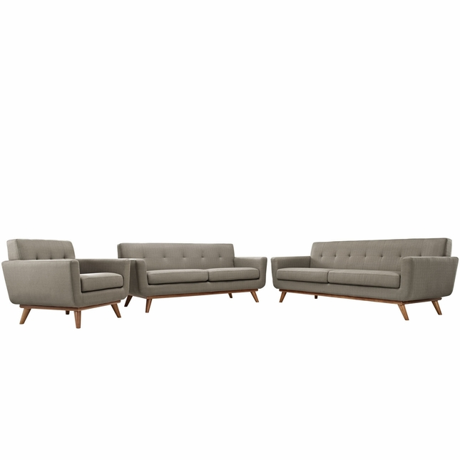 Engage Modern 3pc Upholstered Button-tufted Sofa Loveseat & Armchair, Granite
