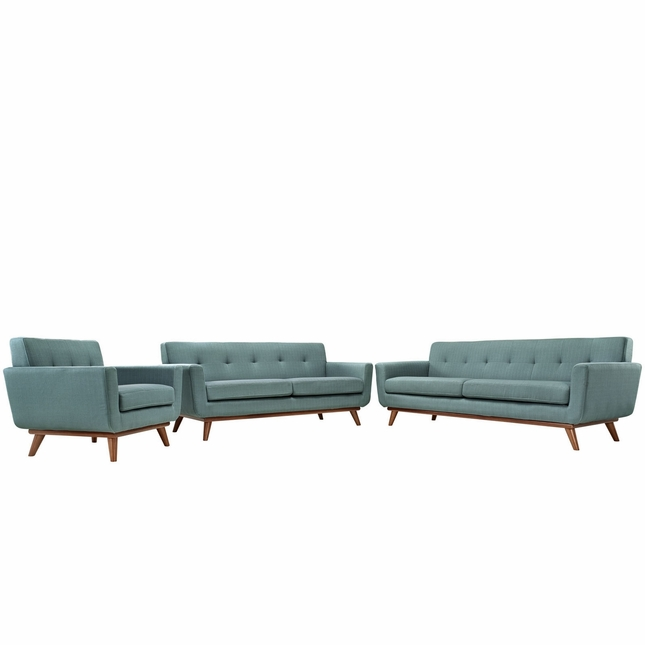 Engage Modern 3pc Upholstered Button-tufted Sofa Loveseat & Armchair, Laguna