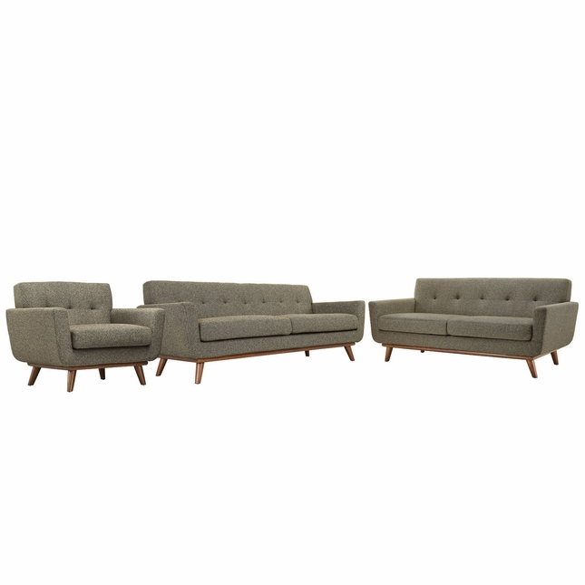 Engage Modern 3pc Upholstered Button-tufted Sofa Loveseat & Armchair, Oatmeal