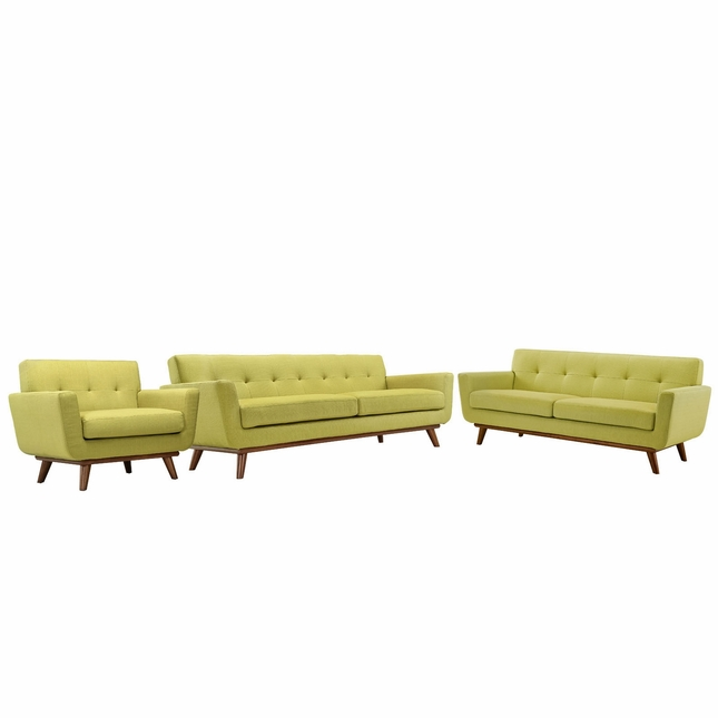 Engage Modern 3pc Upholstered Button-tufted Sofa Loveseat & Armchair, Wheatgrass